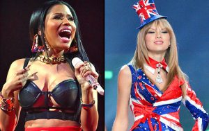 Nicki Minaj is shown screaming while Taylor Swift is shown with a smirking smile. (Image: nbcnewyork.com)