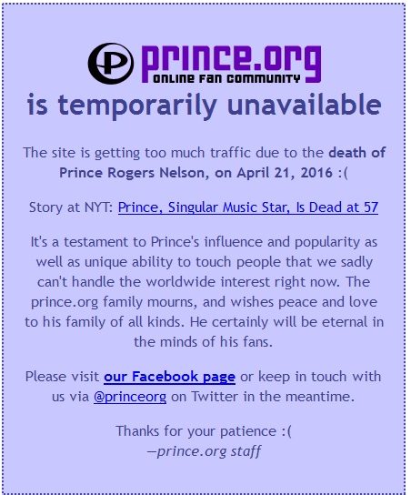 prince website down