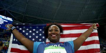 Michelle Carter grabs a gold.