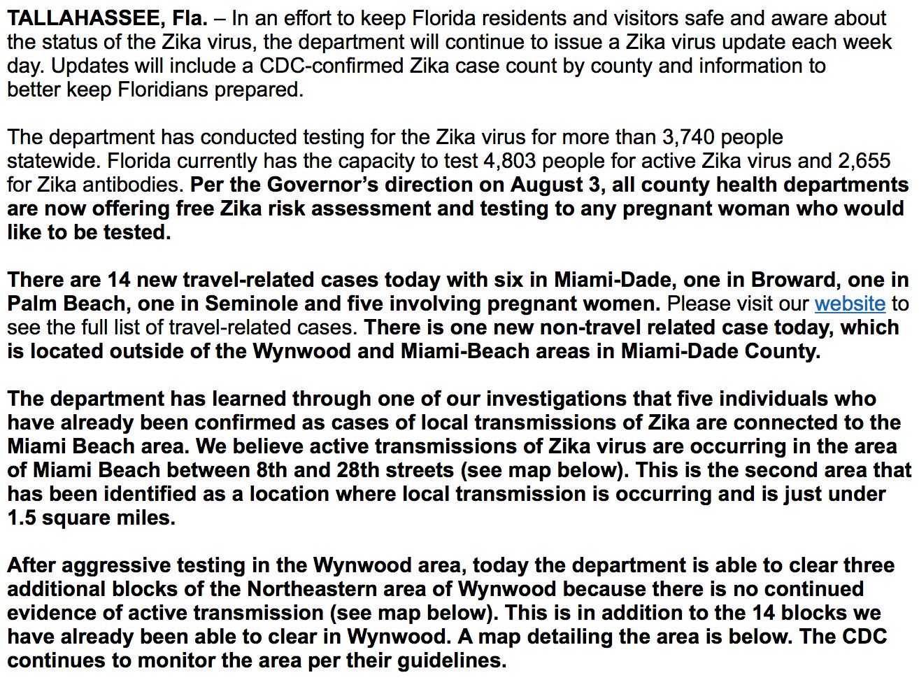 Catch Zika In South Beach  Local Cases In Florida The Urban - Florida map testing
