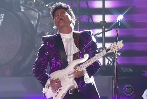 Bruno Mars Ignites the Grammys with Sizzling Prince tribute