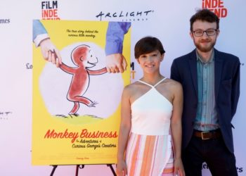 """Director Ema Ryan Yamazaki and animator Jacob Kafka at the world premiere of ""Monkey Business: The Adventures of Curious George's Creators."""