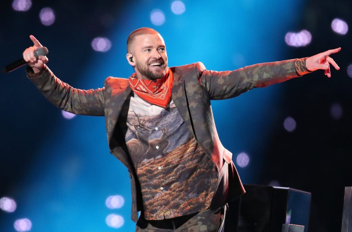 Justin Timberlake performing at Super Bowl LII