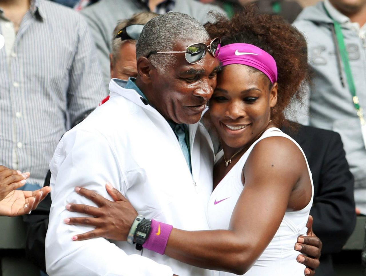 Serena Williams with her dad Richard Williams