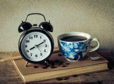 alarm clock black coffee book caffeine