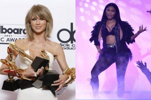 "Oregon Live depicts Taylor Swift with many awards while Nicki Minaj is in a ""sassy"" pose."