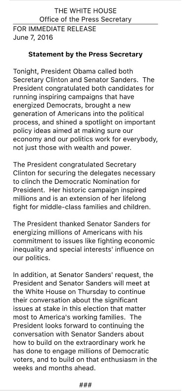 white house statement