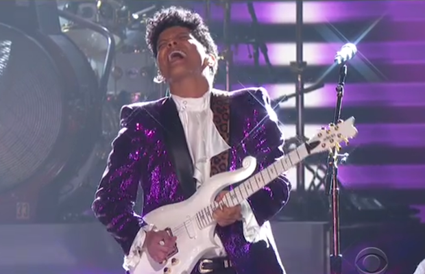 Bruno Mars channelling Prince at the 59th Annual Grammy Awards