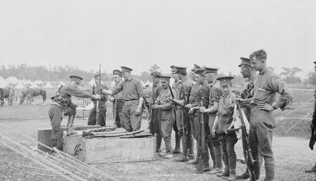 Soldiers receiving the Ross Rifle in Ontario, Canada