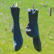 pair of blue socks hanging
