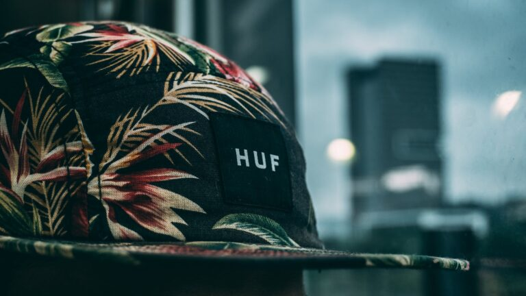 photography of floral huf cap